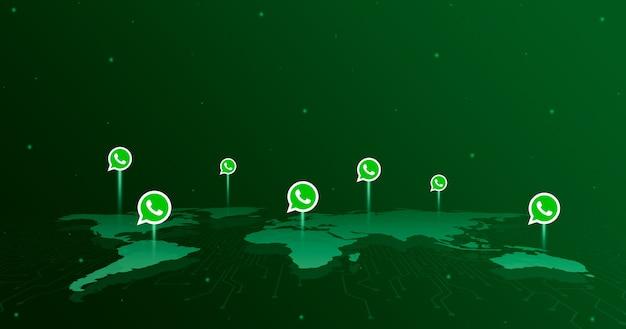 Icônes du logo whatsapp sur tous les continents de la carte du monde 3d