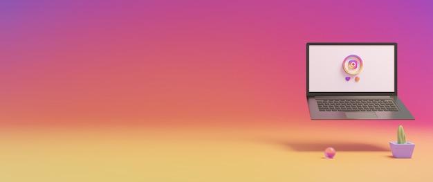 Icônes instagram de médias sociaux et rendu 3d de l'écran d'ordinateur portable