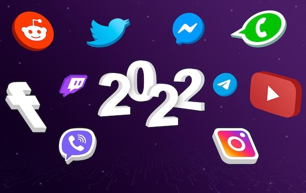 Icônes de médias sociaux autour de 2022 lettrage 3d
