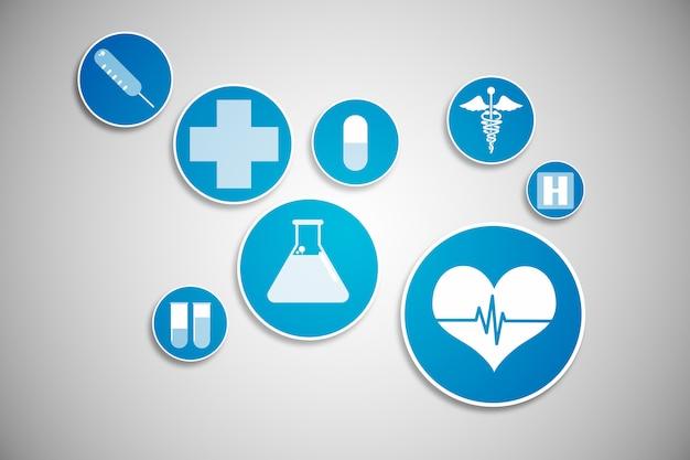 Icônes médicales générées numériquement en bleu et blanc