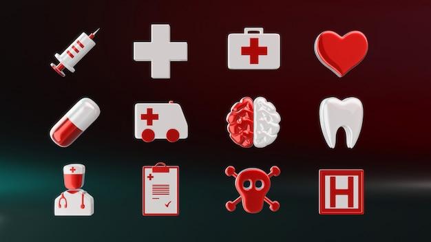 Icônes médicales - illustration 3d
