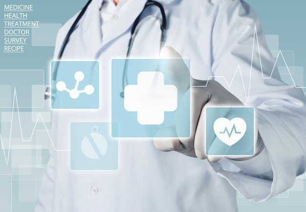 Icônes médicales et jeune femme médecin avec stéthoscope