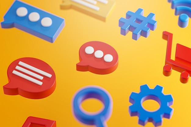 Icônes de message de conversation de médias sociaux rendu 3d de surface orange