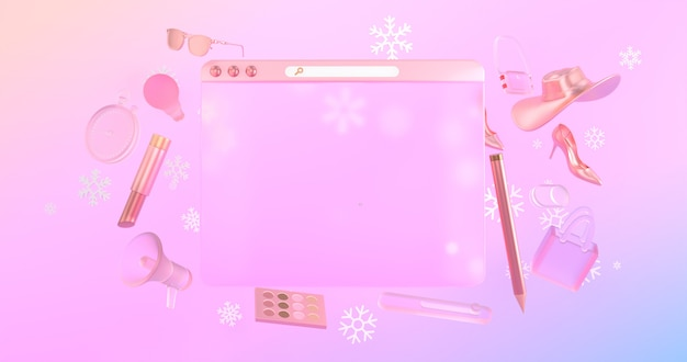 Les icônes de site web 3d et les objets de magasinage 3d ont des icônes de neige à l'arrière.