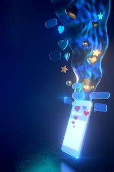 Icônes de smartphone holographique 3d avec lumière tamisée - illustration 3d de l'utilisation des médias sociaux du smartphone. tous vivent dans une atmosphère futuriste. rendu 3d.