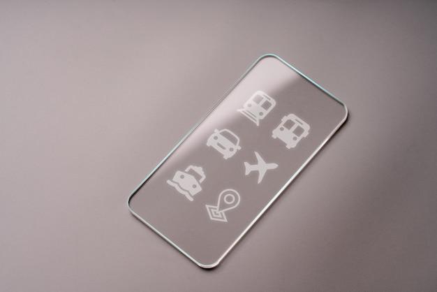Icônes de transport sur verre transparent