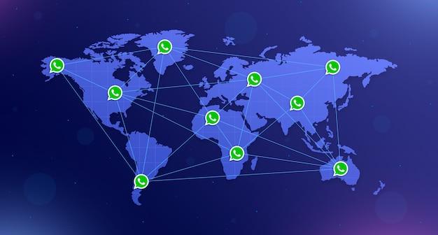 Icônes whatsapp sur la carte du monde sur tous les continents interconnectés sur fond bleu avec éblouissement 3d