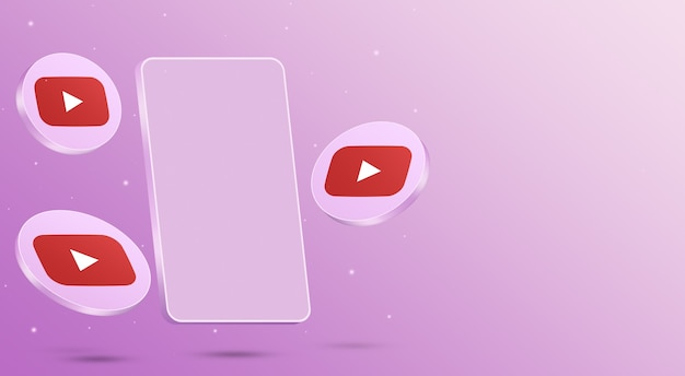 Icônes youtube avec rendu 3d de téléphone portable