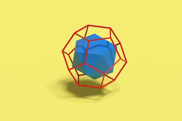 Icosaèdre dans le dodécaèdre filaire. solides platoniques.