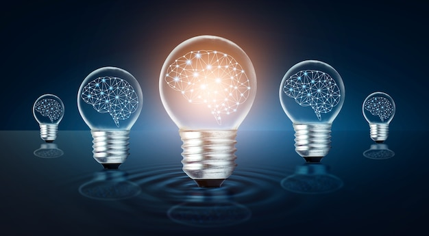 Idée d'ampoule différente de nombreuses ampoules sont disposées en rangée et l'une d'elles est allumée. idée conceptuelle