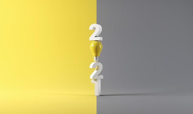 Idée d'ampoule avec nouvel an sur jaune