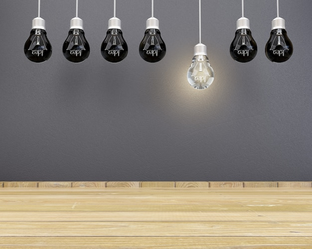 Idée d'ampoules éclairant le plancher à lattes