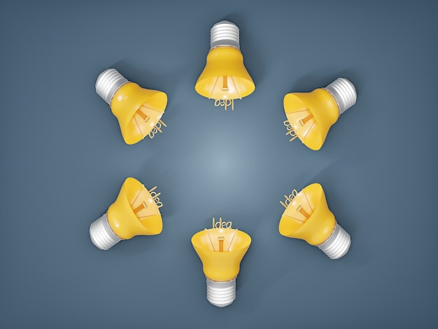 Idée de brainstorming avec plusieurs ampoules