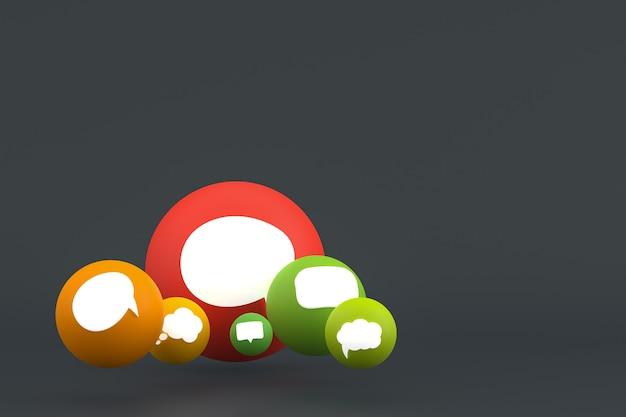 Idée de commentaire ou de réaction de rendu 3d emoji, symbole de ballon de médias sociaux avec fond de modèle d'icônes de commentaire