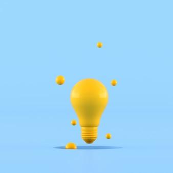 Idée de concept minimal d'ampoule jaune entourer d'une petite boule sur fond bleu. rendu 3d.