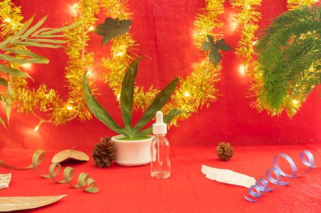 Idée de concept minimaliste affichant des produits. arrière-plans de noël et du nouvel an