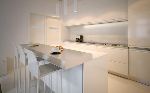 Idée de cuisine scandinave. armoires brillantes, plans de travail en acrylique, lampes au néon. rendu 3d