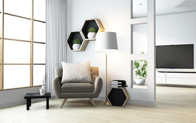 Idée de design en bois étagère hexagone sur le mur et le fauteuil de style japonais