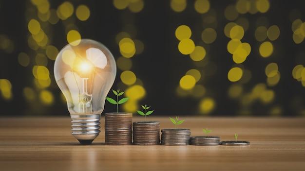 Idée d'économie d'énergie et d'argent pour économiser le concept de revenu d'argent