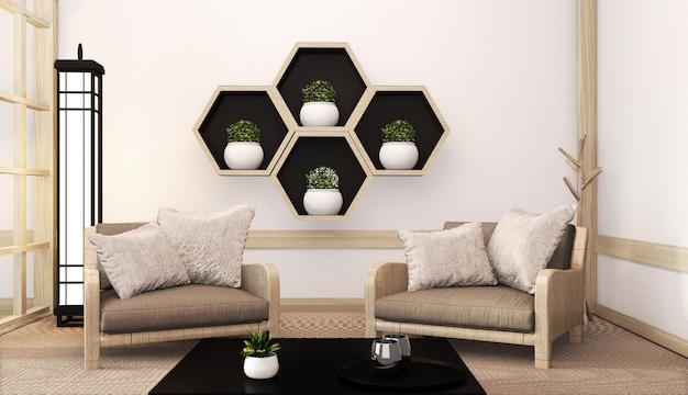 Idée d'étagère hexagon en bois sur le mur et fauteuil de style japonais sur un tatami. rendu 3d