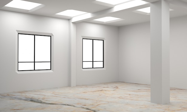 Idée d'un intérieur blanc vide de la salle scandinave. intérieur de fond. intérieur nordique. illustration 3d