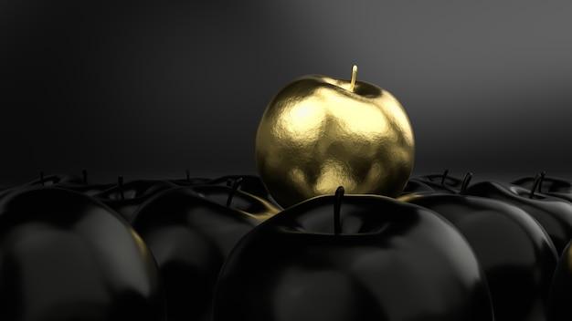 Idée de luxe de pomme d'or sur fond noir, rendu 3d.
