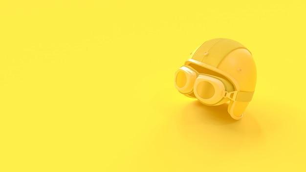 Idée minimale. casque de couleur jaune.