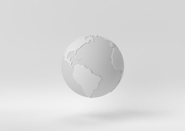 Idée de papier minimal créatif. monde concept blanc avec un fond blanc. rendu 3d, illustration 3d.