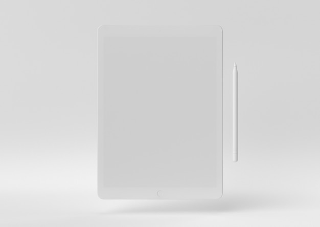 Idée de papier minimal créatif. tablette concept blanc avec un fond blanc. rendu 3d, illustration 3d.