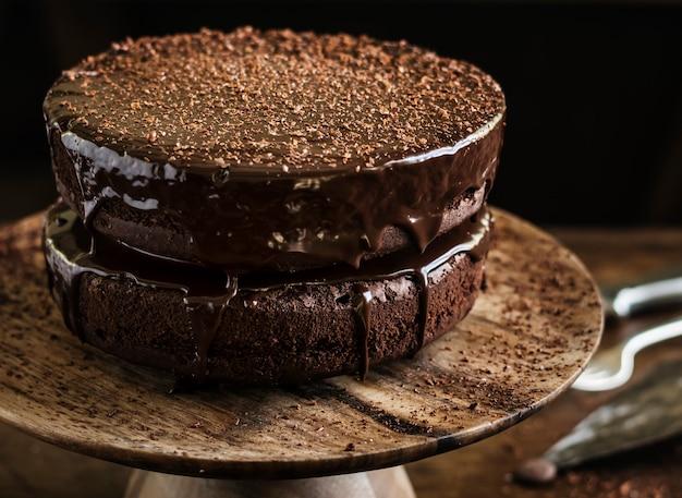 Idée de recette de photographie de gâteau alimentaire au chocolat