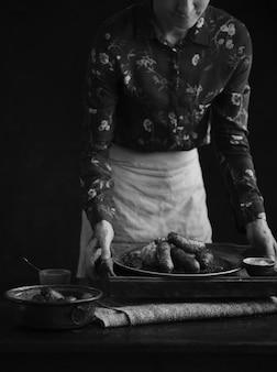 Idée de recette de photographie de nourriture bangers & mash