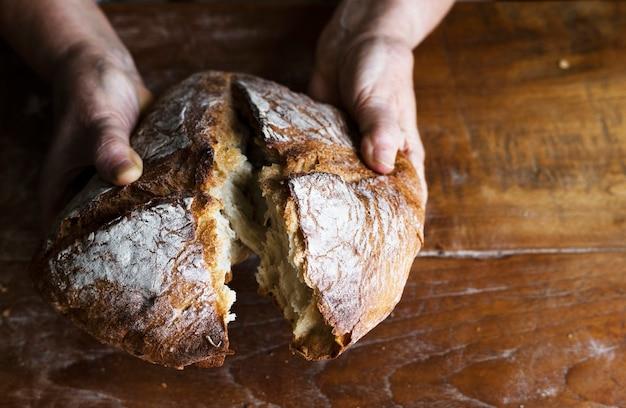 Idée de recette de photographie de nourriture de pain de pain