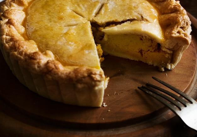 Idée de recette de photographie de nourriture tarte à la citrouille