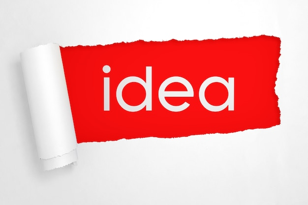 Idée signe dans le trou de papier blanc déchiré gros plan extrême. rendu 3d