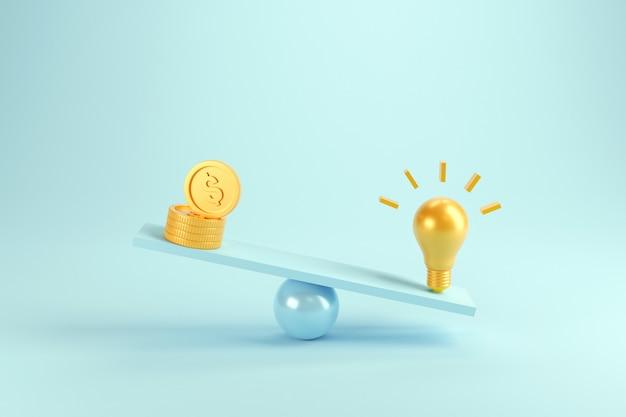 Idée vs pièces de monnaie sur des balances, poids avec ampoule et pièces de monnaie.