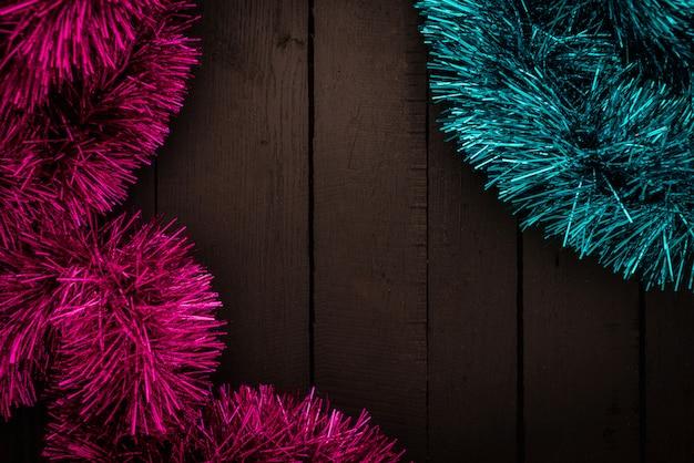 Idées de fond célébration festive avec des articles de décoration de vacances de veille de noël