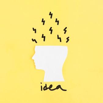 Des idées qui sortent du cerveau découpé
