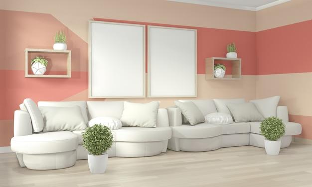 Idées de vie salon corail mur géométrique art peinture design couleur plein style sur plancher en bois