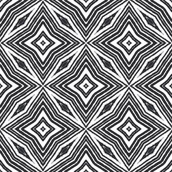 Ikat répétant la conception de maillots de bain. fond de kaléidoscope symétrique noir. textile prêt à l'emploi superbe imprimé, tissu de maillot de bain, papier peint, emballage. modèle de maillot de bain ikat d'été.