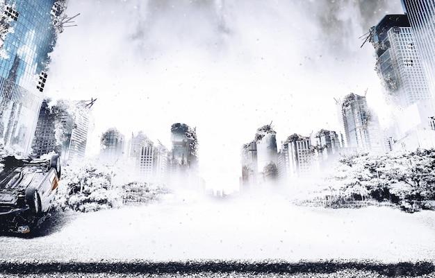 Il neige dans les ruines de la ville détruite par la période glaciaire et la guerre