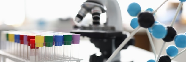 Il y a un support sur la table avec de nombreux tubes à essai avec couvercle coloré et molécule en plastique. en arrière-plan, un microscope blanc.