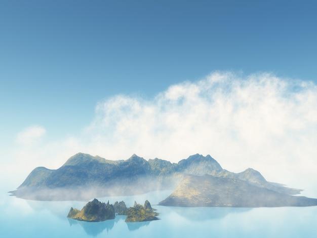 Île brumeuse 3d dans la mer