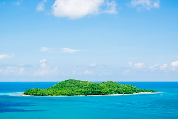 Île dans l'océan bleu