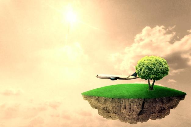 Île fantastique dans le ciel