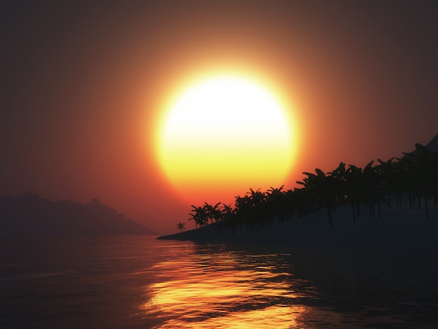 Île de palmier 3d contre un ciel coucher de soleil