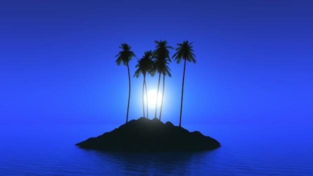 Île de palmier contre un ciel éclairé par la lune