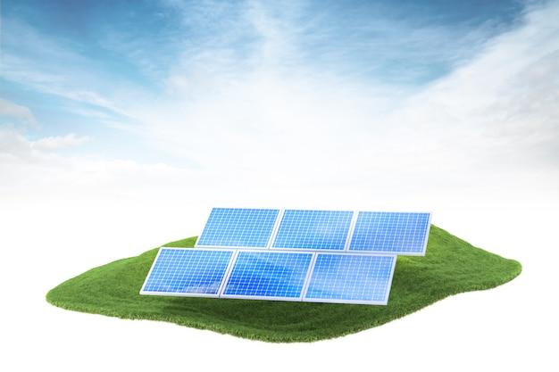 Île avec des panneaux solaires flottant dans les airs