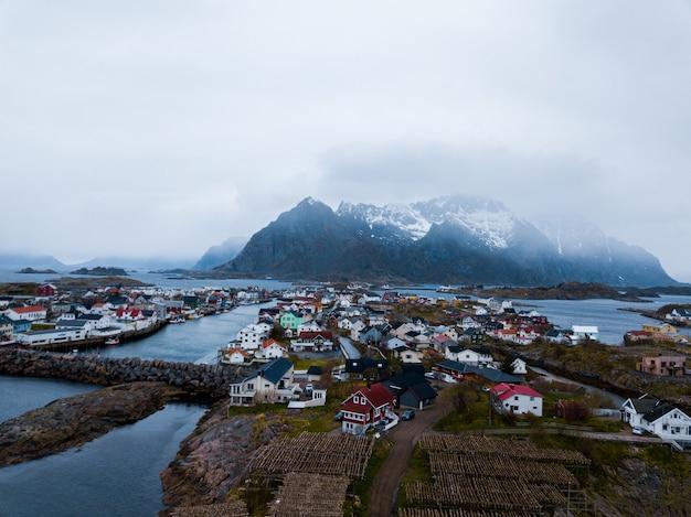 Îles lofoten norvège depuis la crête de reinebringen
