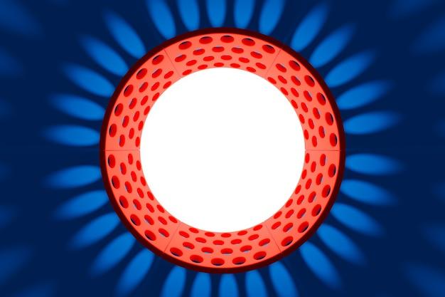 Illustaration 3d d'un portail cyber rouge et bleu avec une boule lumineuse blanche à l'intérieur.