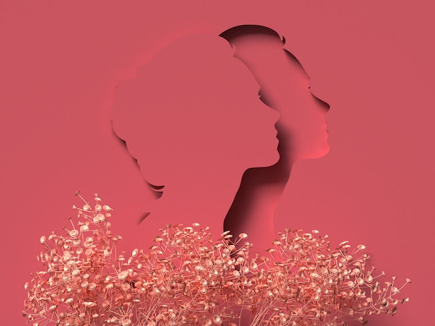 Illustration 3d. 8 mars avec visage de femme en papercut rouge. concept de la journée des femmes.